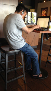 How not to sit at a coffee house.